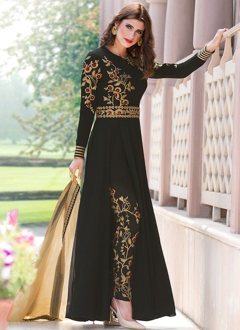 Black And Gold Embroidered Georgette Pant Style Anarkali