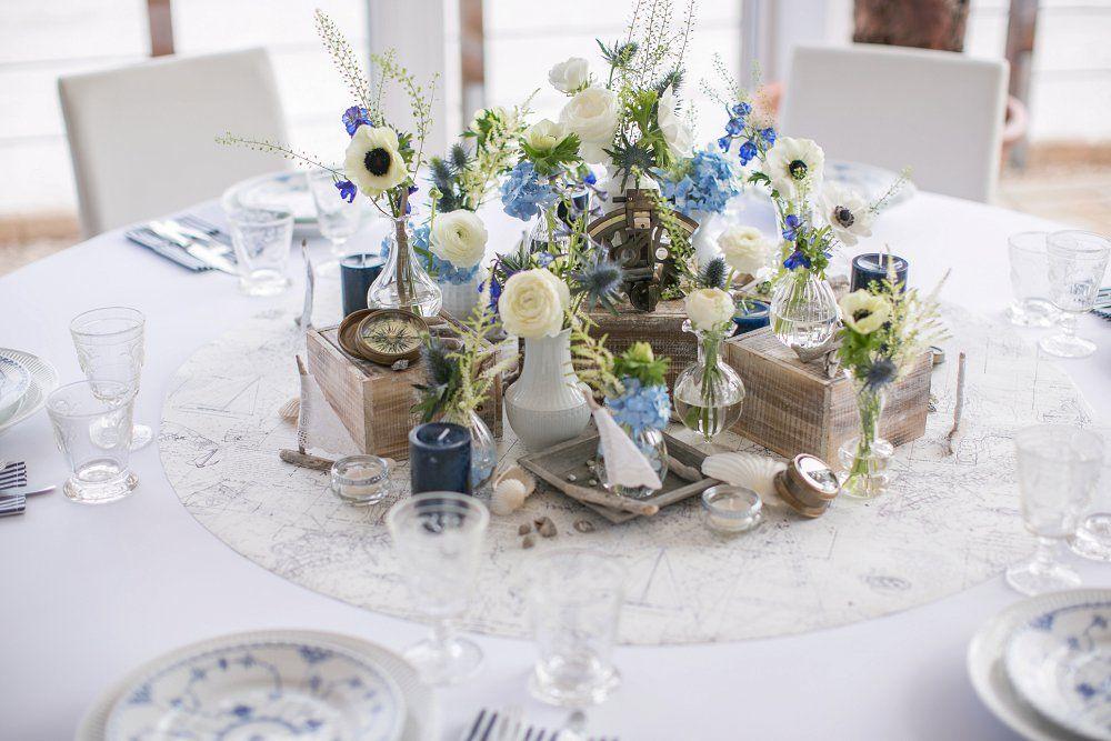 Tischdekoration Maritim Maritim Tischdeko Hochzeit Blau Weiss
