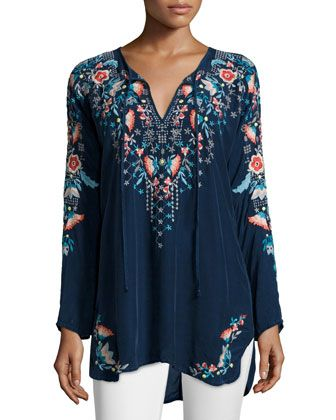 2f02f7354a Johnny Was Plus Size Julie Sunrise Embroidered Blouse