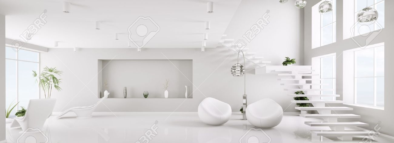 White Interior Of Modern Apartment Living Room Panorama 3d Render Stock  Photo, Picture And Royalty