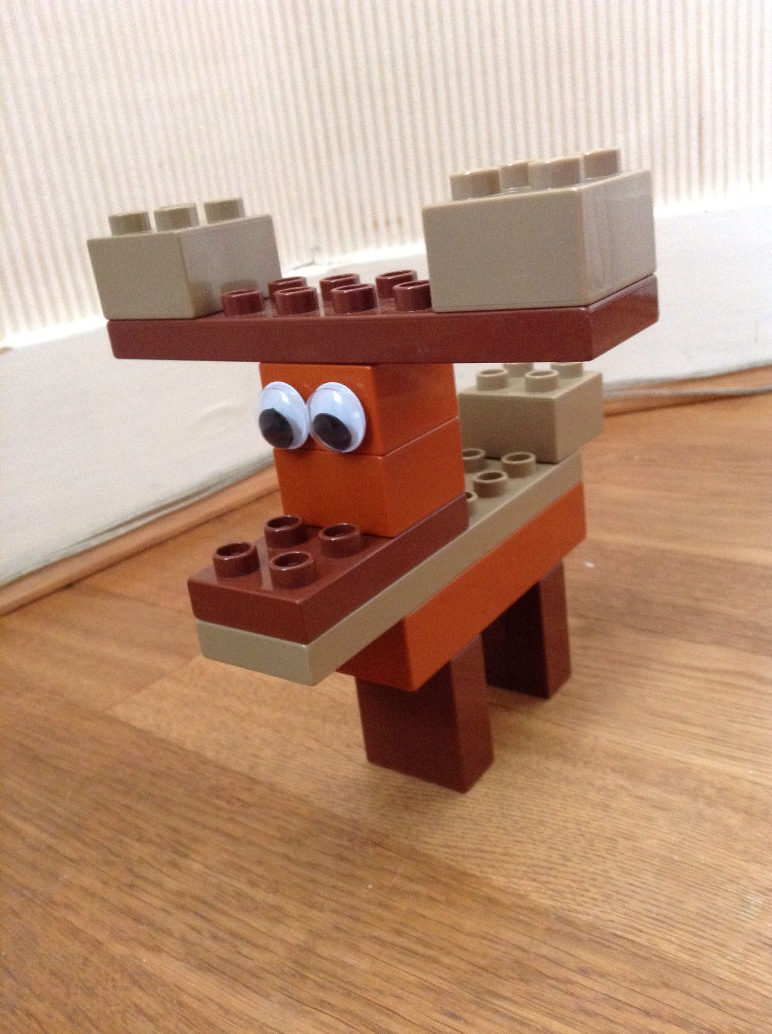 Duplo reindeer with googly eyes