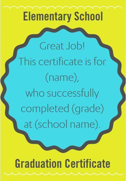 certificate wording for elementary teachers and schools teacher