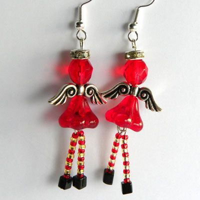 Stripey Stockings Angel Earring Kit - Beads