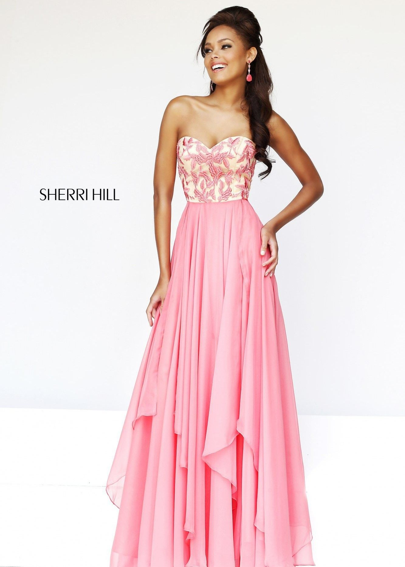 Sherri hill coral floral embroidered prom gown available at