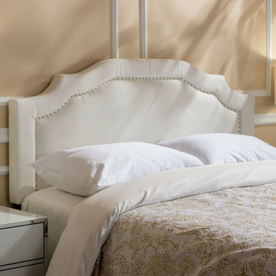 Queen Panel Headboard White Fabric Tufted Upholstered Trimmed
