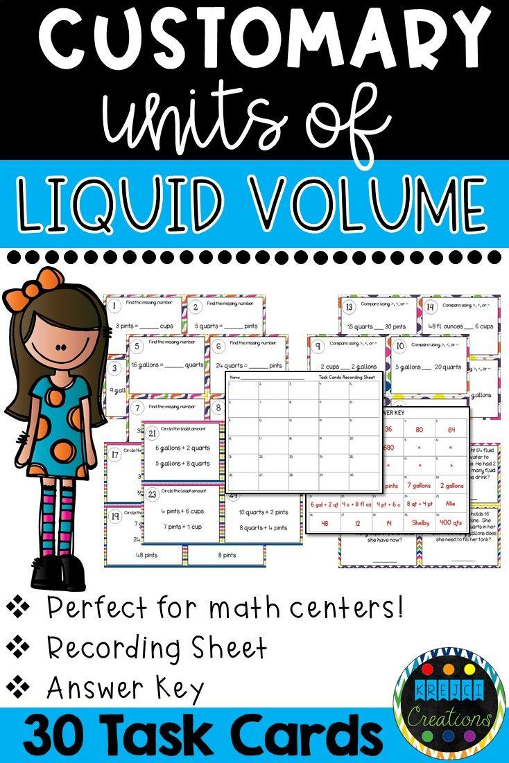 Converting Units of Measure: Liquid Volume | TpT Math Lessons | Pinterest