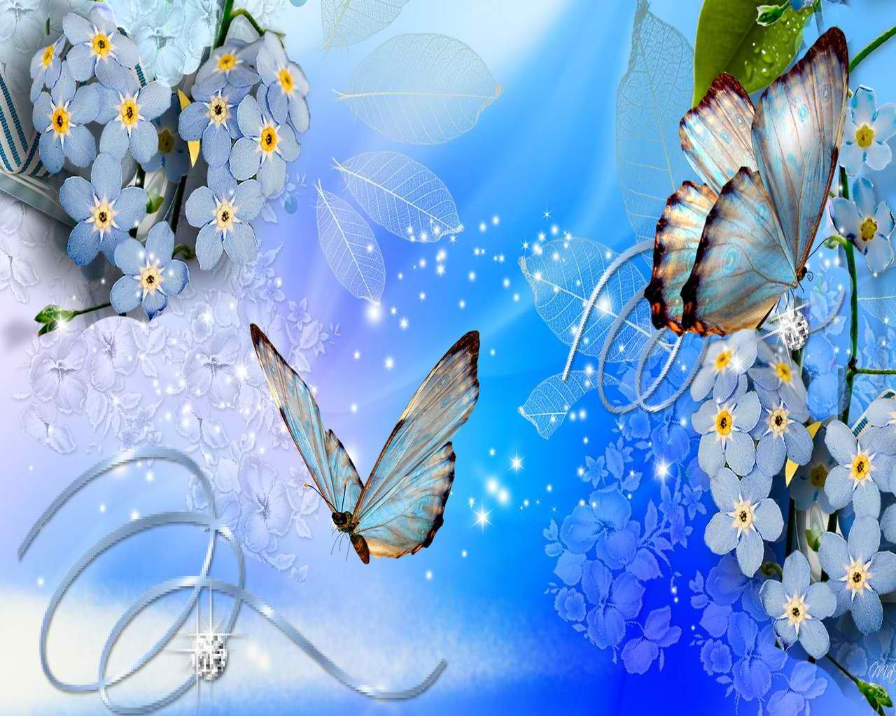 Butterflies In Blue Blue Butterfly Wallpaper Blue Flower