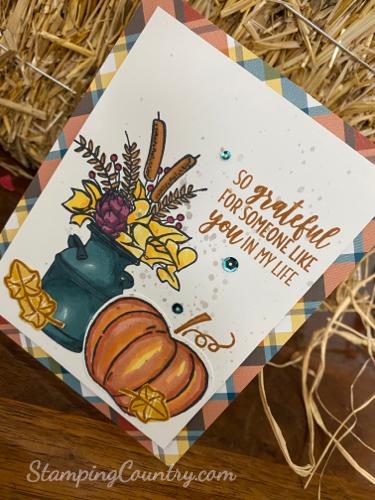 #DIYautumncard #harvesthellos #pumpkins #countryhome #stampinup
