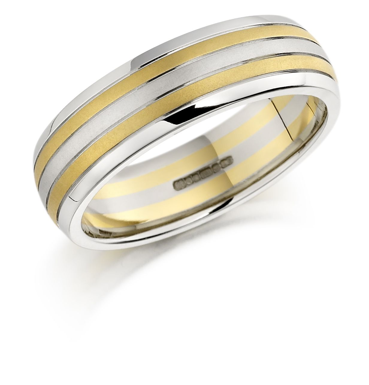 Stunning 18ct Yellow And White Gold Gents Heavy Wedding Ring Wedding Rings Rings White Gold