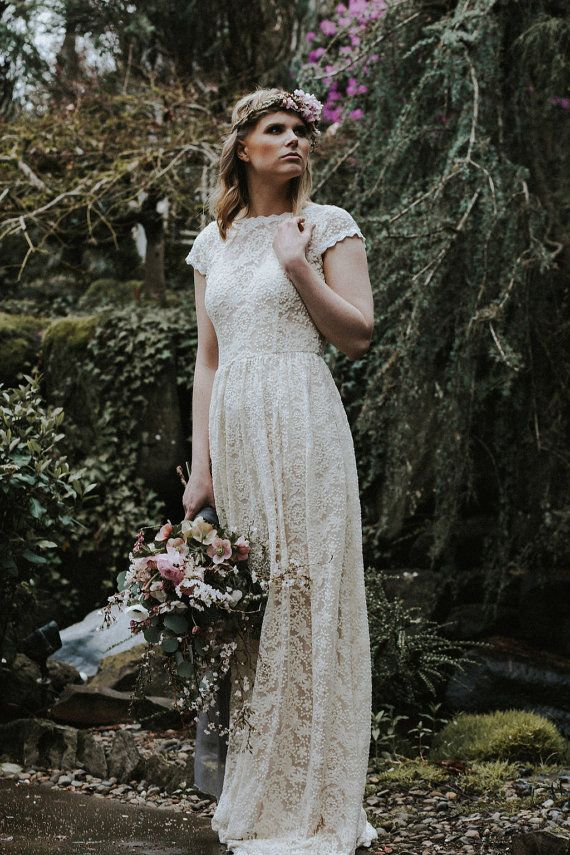 Ivory or White Lace Bohemian BACKLESS WEDDING GOWN. simple and elegant wedding  dress with open back df893ef6e