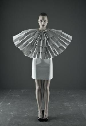 Paper Fashion - 3D accordion pleat structure; sculptural fashion; wearable art by reva #wearableart