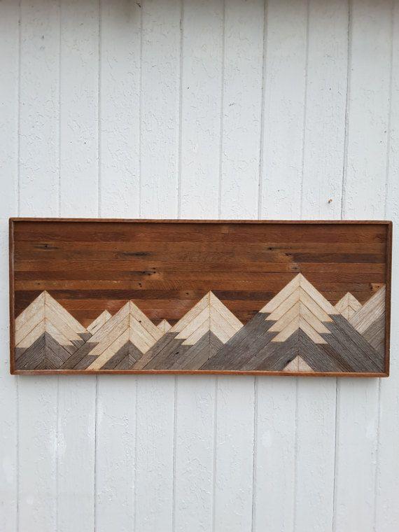 Wood Wall Art past reclaimed wood wall art, twin headboard, mountain range