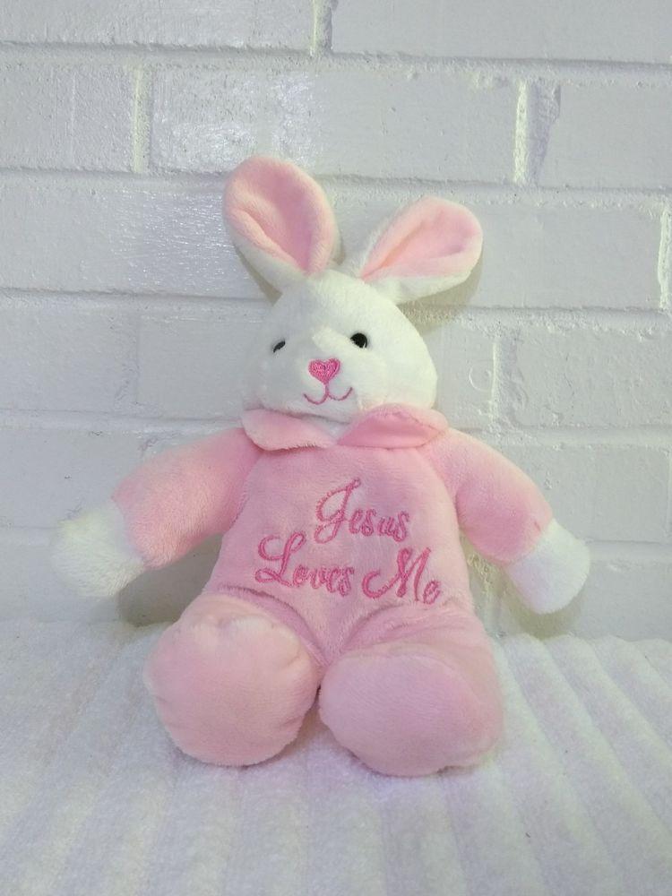 Dan Dee Jesus Loves Me Bunny Rabbit Stuffed Animal Plush Sings Pink