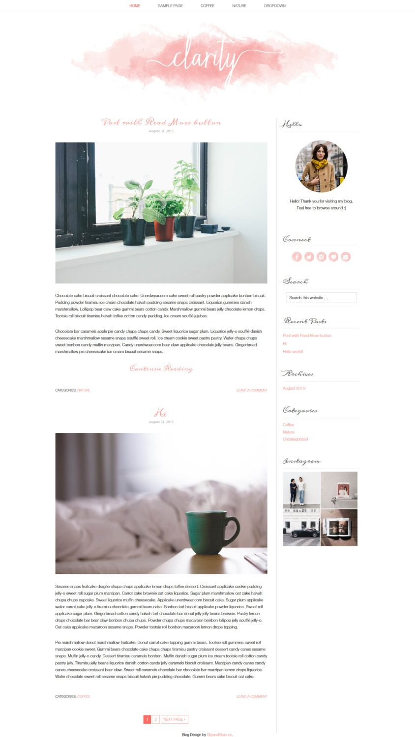 Wordpress Theme - Premade blog design template - Watercolor ...