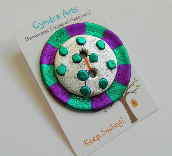 BIG Button Large Handmade Button. Purple Green and by CyndraArts, £5.99