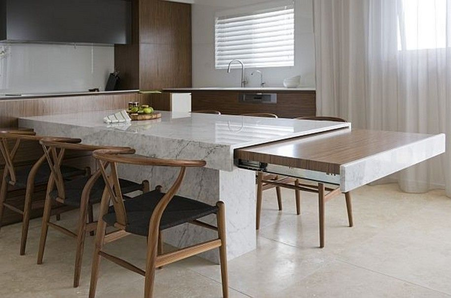 Small Space Solutions Hidden Kitchen From Minosa Design Unique Marble Dining Table With Extend