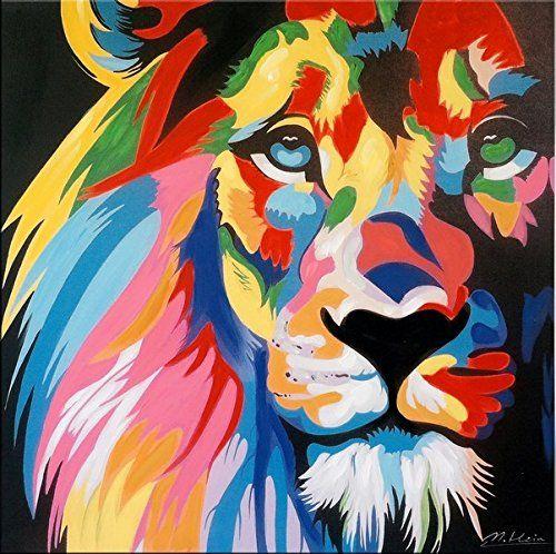 colourful pop art lion  löwe  modernes acrylbild