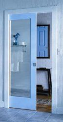 Kitchen to Bathroom- Mirrored pocket door