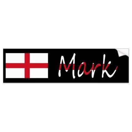 Personalized name overlaid on england flag sticker overlays