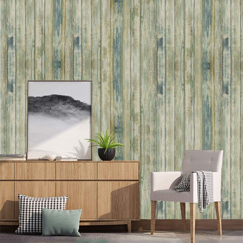 Amazon Com Practicalws 24 118 Blue Distressed Wood Wallpaper Self Adhesive Peel And Stick Contact Pa Distressed Wood Wallpaper Wood Wallpaper Vintage Wood