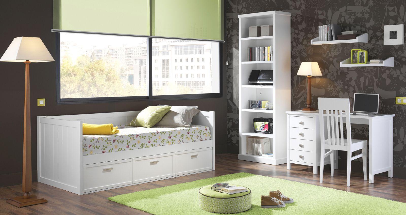 Dormitorio Juvenil de madera cama nido con respaldo. Más info en www ...