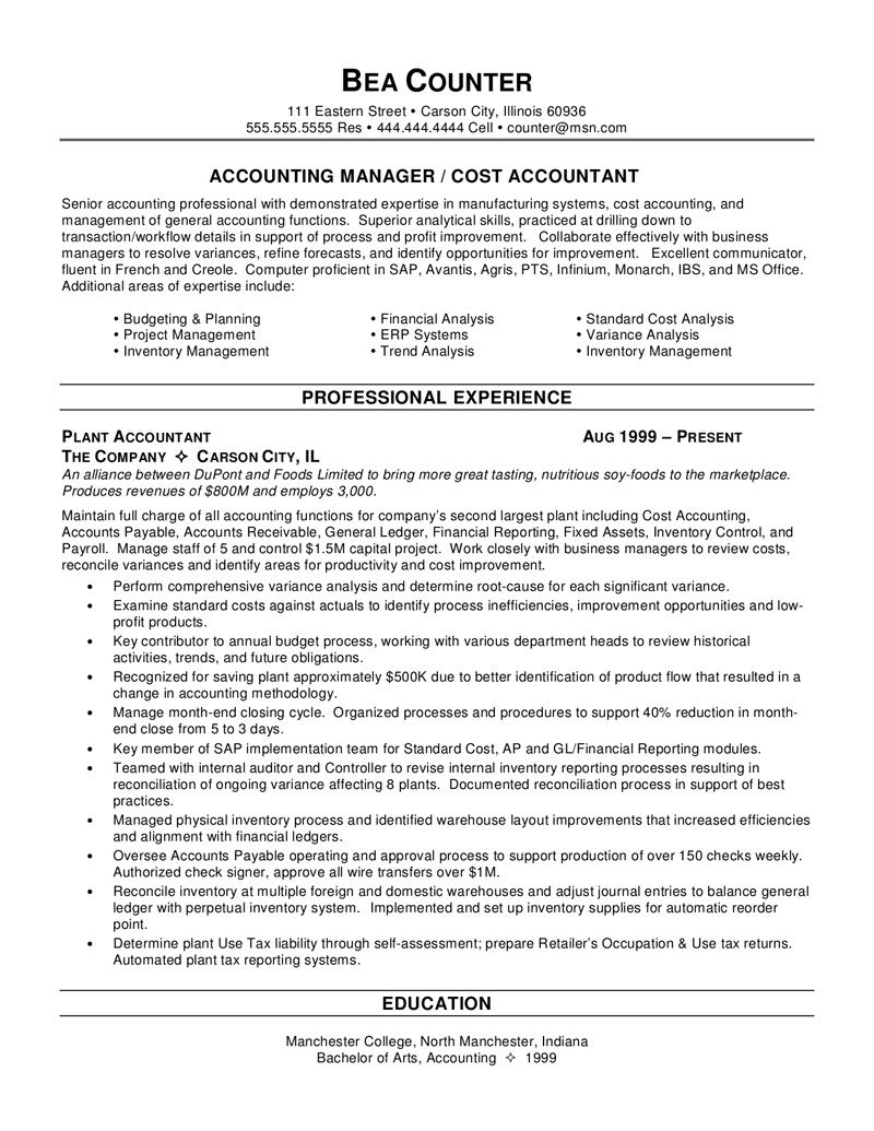 Accounting Resume Template  Accounting Resume Template We Provide