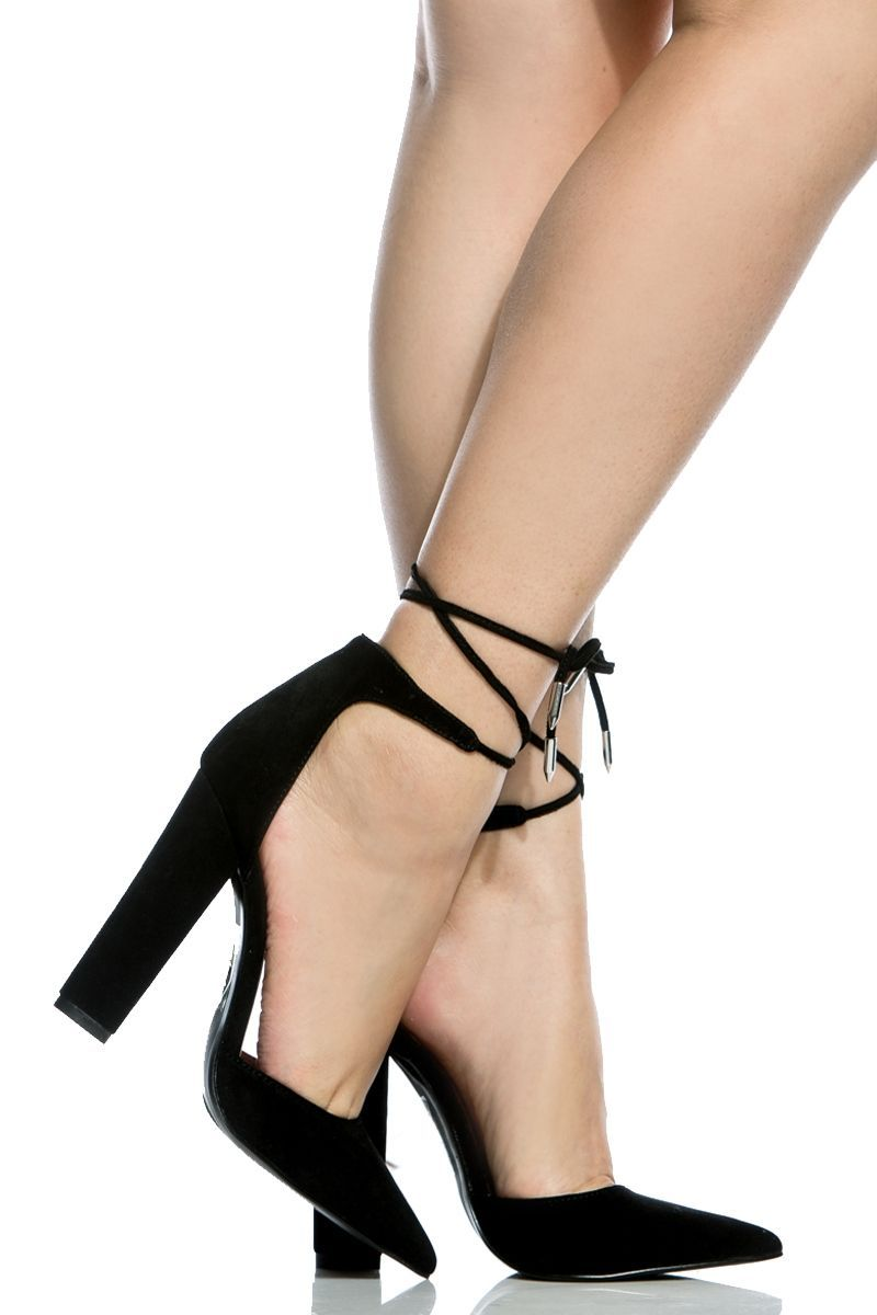 2468fb3e54f5 Black Faux Suede Chunky Pointed Toe Heels   Cicihot Heel Shoes online store  sales Stiletto Heel Shoes