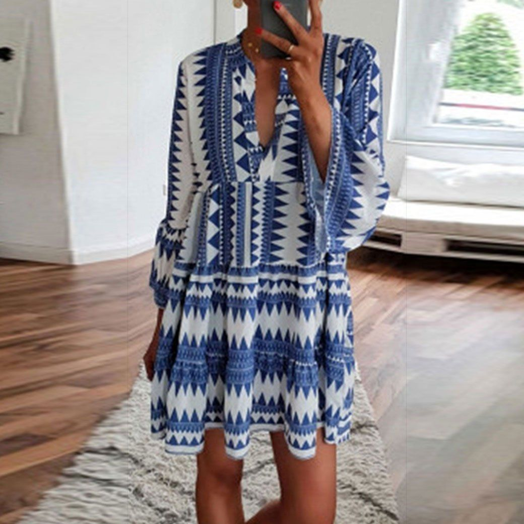 Plus Size Bohemian Fashion Casual Print V-Neck Dress