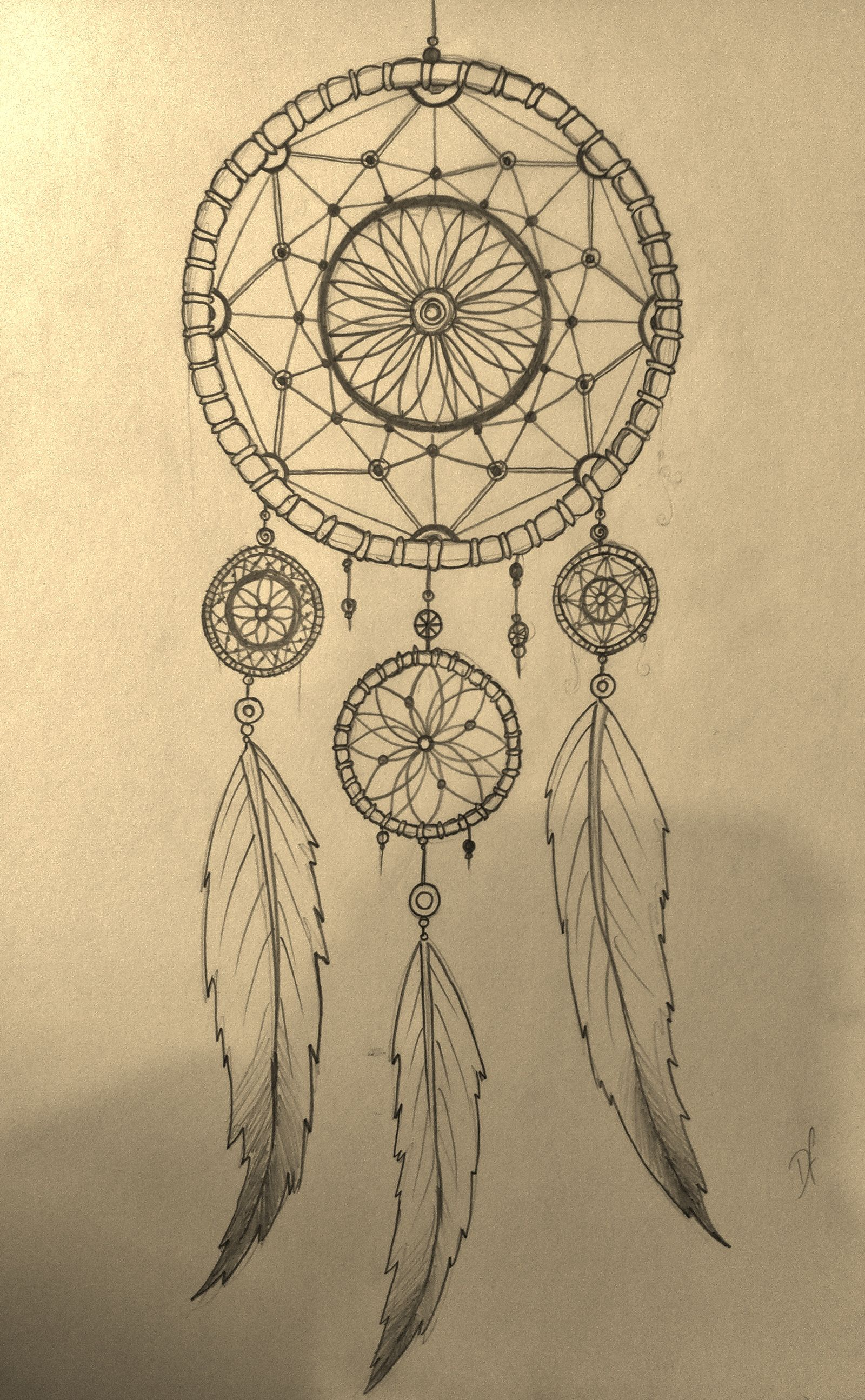 Simple Dream Catcher Drawing : simple, dream, catcher, drawing, Dream, Catcher, Design, Dreamcatcher, Drawing,, Drawing