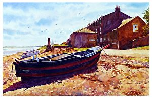 """Old boat, Sunderland point by Graham Berry Watercolor ~ 11"""" x 18"""""""