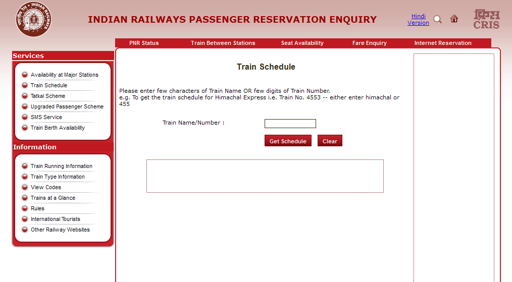 Indian Railways Train enquiry, Check Seat availability, Train Running  status and schedule, Railway reservation enquiry, PNR status