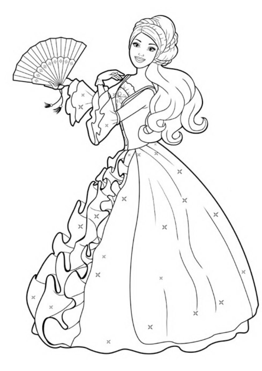 A Doll In A Ball Gown High Quality Free Coloring From The Category Barbie More Barbie Coloring Pages Disney Princess Coloring Pages Princess Coloring Pages