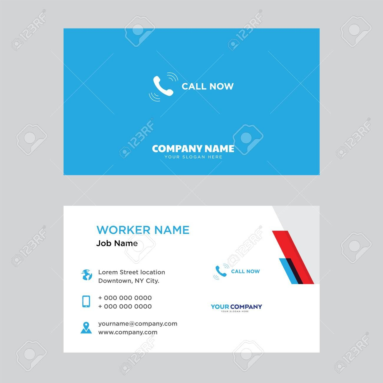 Call Now Business Card Design Template In Front And Back Illustration In Business Card Template Design Business Card Template Word Business Card Template Psd