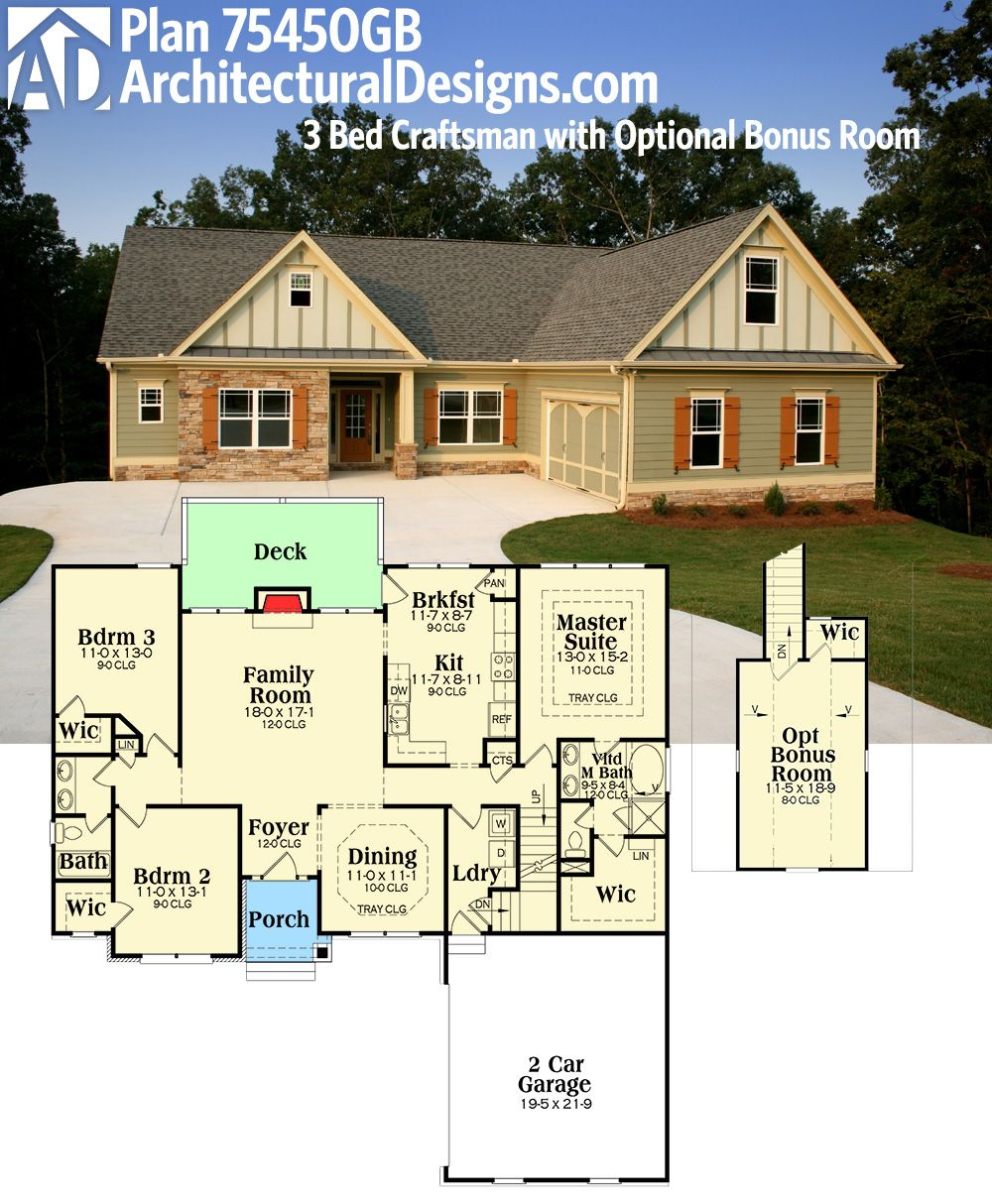 Plan 75450gb 3 bed craftsman with optional bonus room for Single story house plans with bonus room above garage
