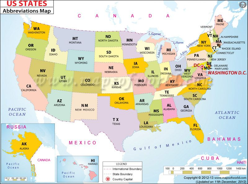 Printable Us Map With Abbreviations | States in US, List of ...