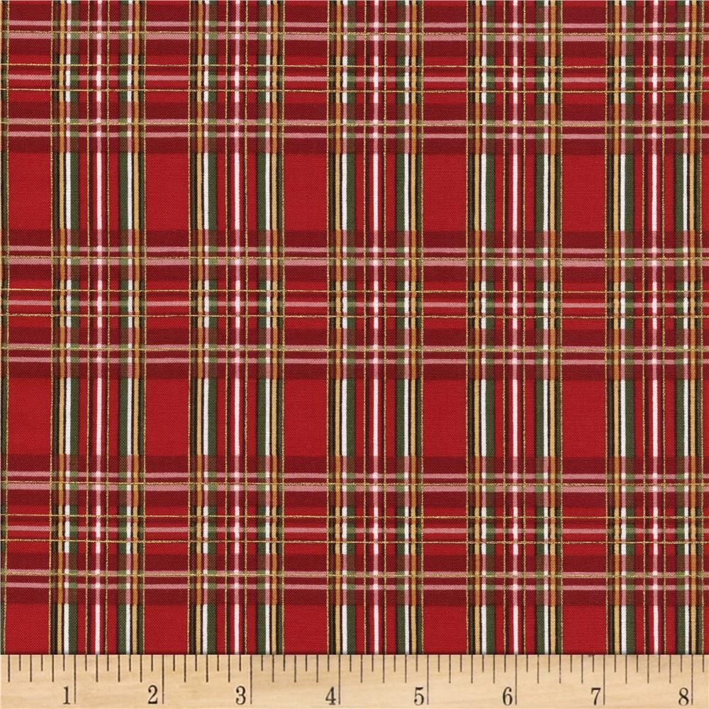 Timeless Treasures Country Christmas Metallic Plaid Red from @fabricdotcom  Designed for Timeless Treasures, this cotton print fabric is perfect for quilting, apparel and home decor accents. Colors include shades of red, green, and metallic gold accents.