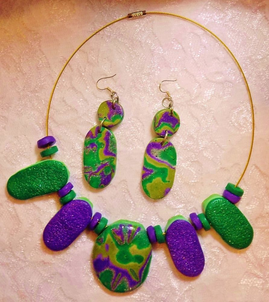 Green Mokume Gane Necklace & Earrings - DeCicco #DeCicco #mokumeGanepolymerclay