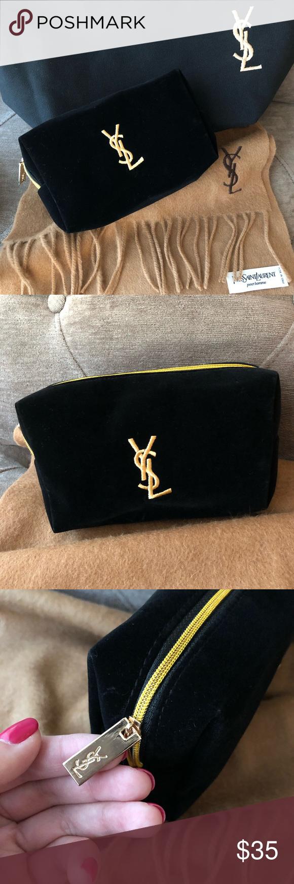 557d9c457f6d Authentic NWOT Yves YSL Black Velvet Makeup bag Authentic NWOT YSL Black  Velvet Makeup bag.