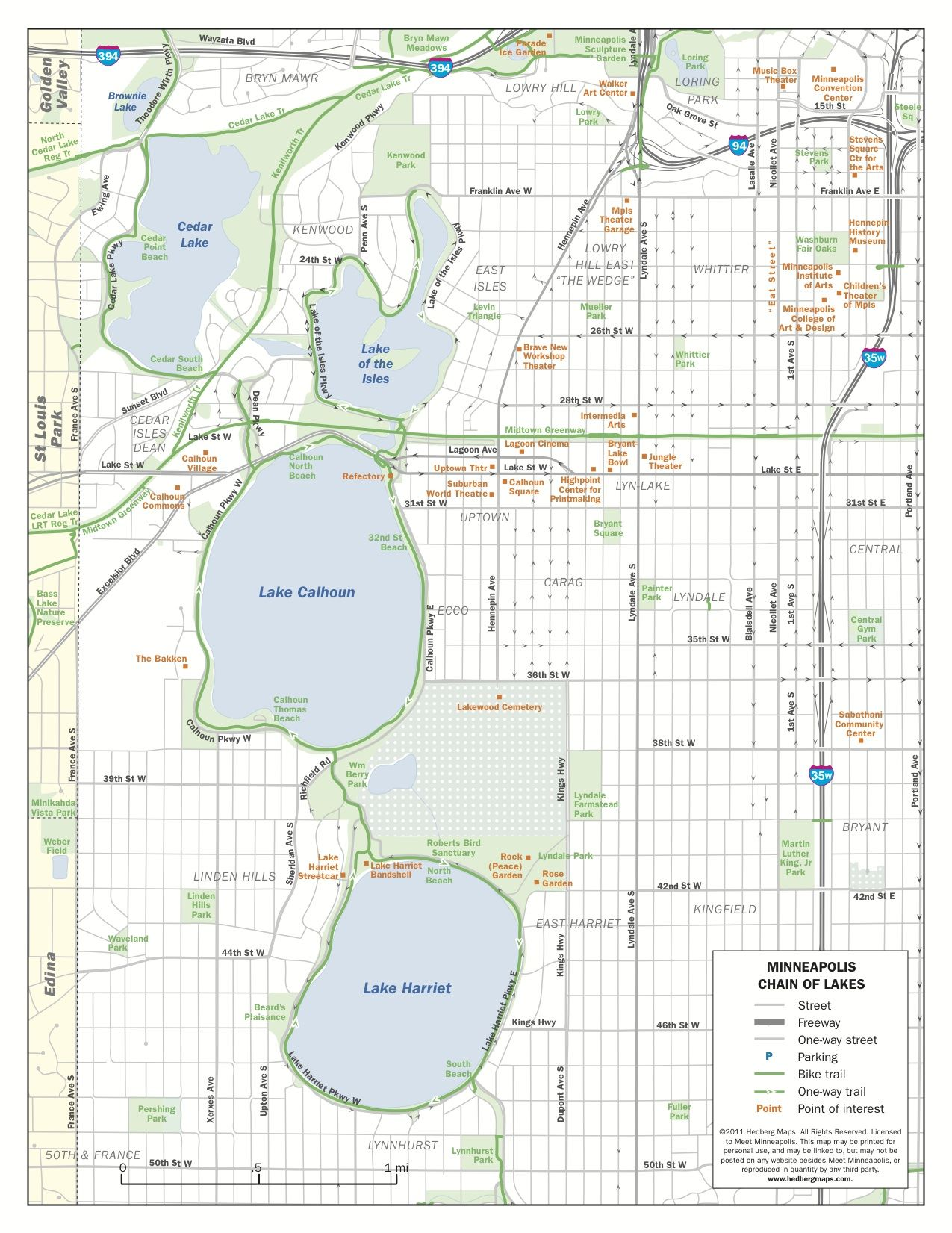 A map of all of the lakes that make up the city of Minneapolis ...