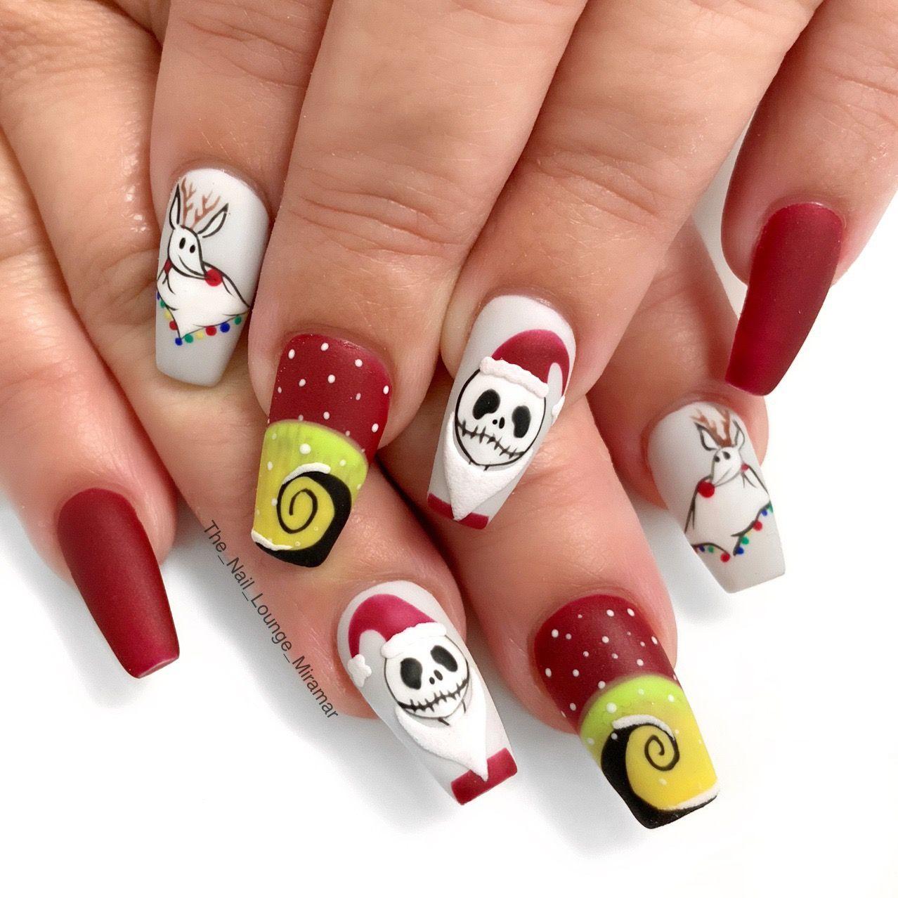 Nightmare Before Christmas Nail Art Design Nightmare Before Christmas Nails Christmas Nail Designs Xmas Nails