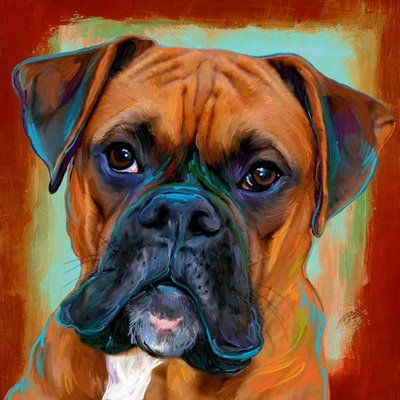Dog art by art paw dog paintings pinterest chien peinture and art - Boxer chien dessin ...