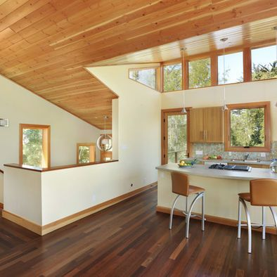 example of knotty pine ceiling, adjacent drywall and ...
