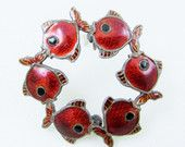 Volmer Bahmer Sterling Enamel Fish Pin Denmark Sterling Jewelry Designer Signed Red Enamel Fish Circle Brooch
