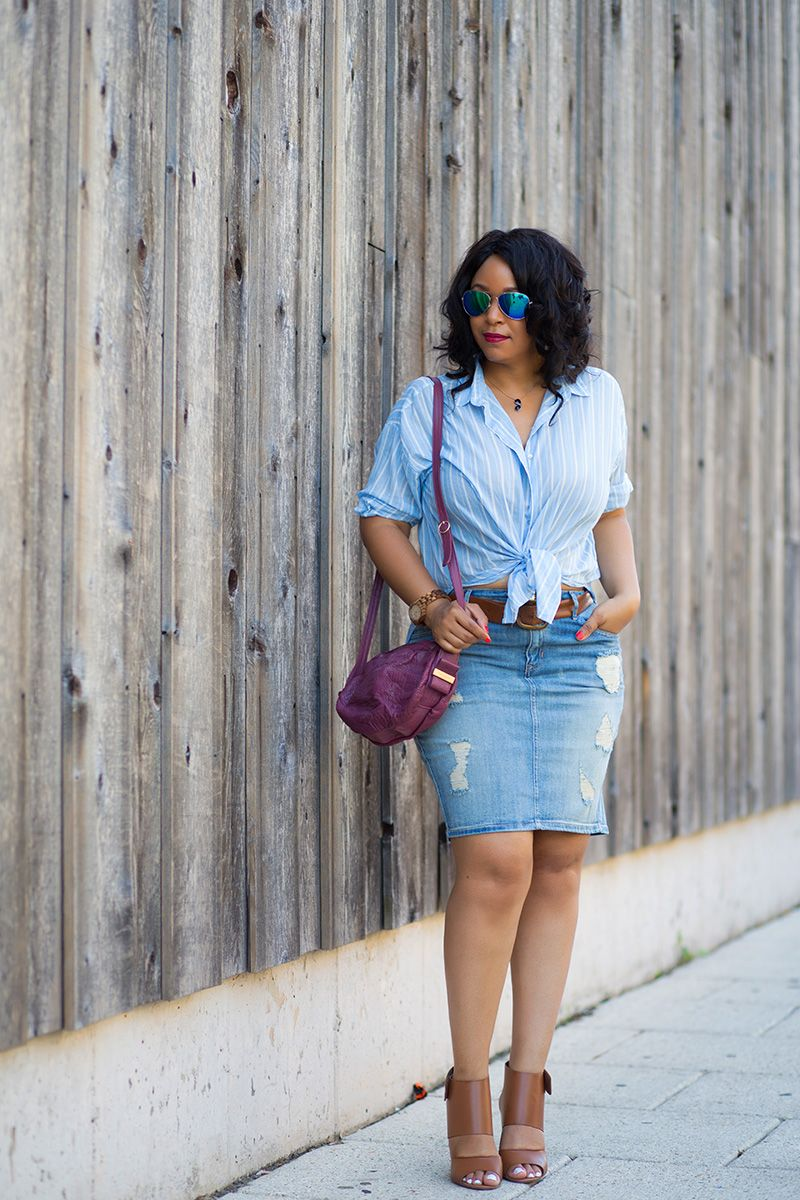 What I'm Wearing: 12 Ways to Wear Denim: Distressed Denim Skirts ...