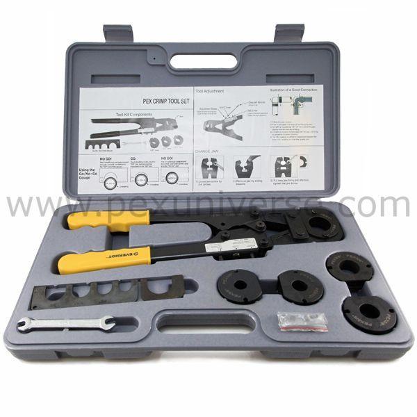 Pex Crimp Tool Kit For 1 2 5 8 3 4 And 1 Sizes Pex Plumbing Plumbing Tools Plumbing