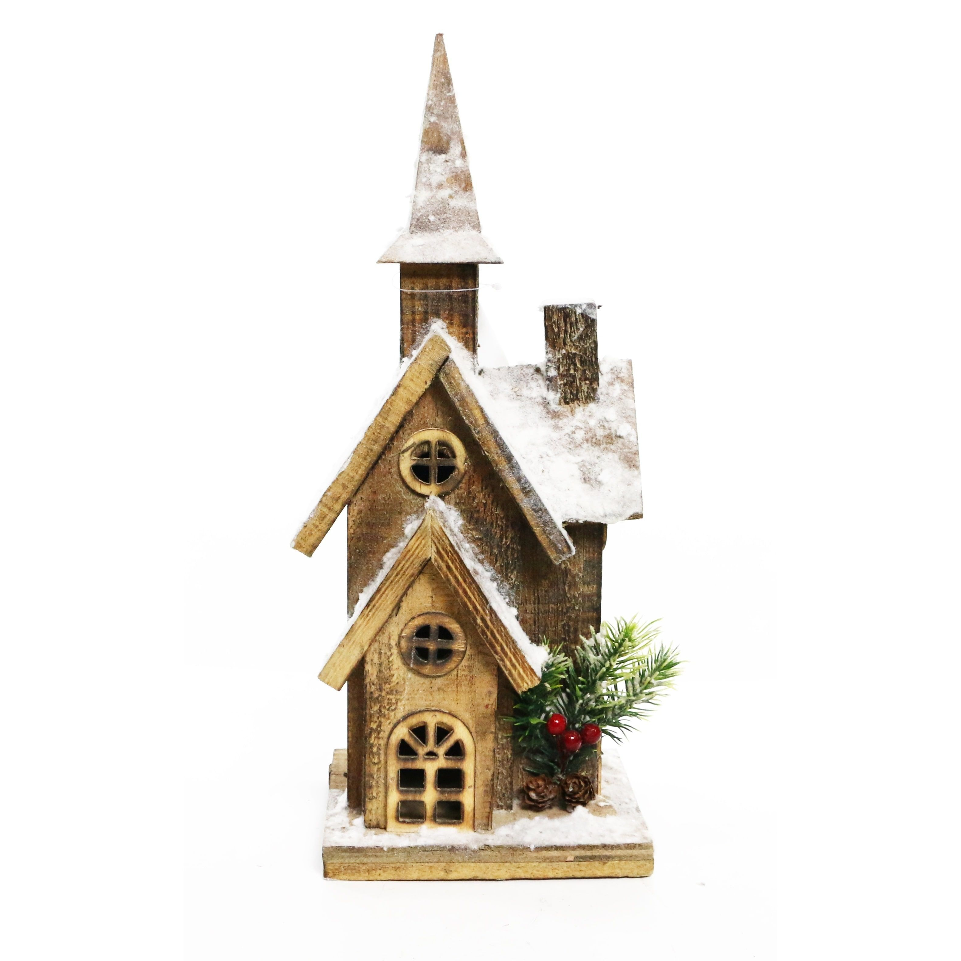 Alpine Corporation 16 Christmas Wooden House with 10 LED Lights ...