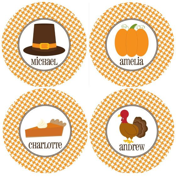 Personalized Plate Set of 4 - Thanksgiving Plates, Fall, Pumpkin