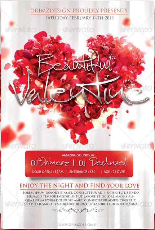 20 Romantic Valentines Flyer Template Collection Graphic Design