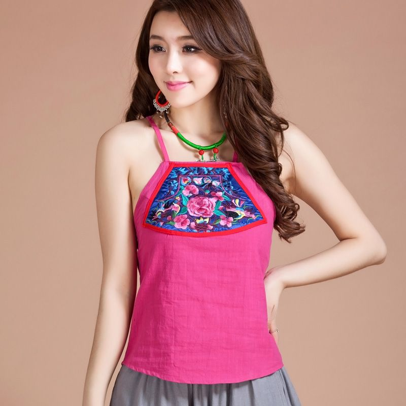 Attractive Flower Embroidery Oriental Style Halter Top - Chinese ...