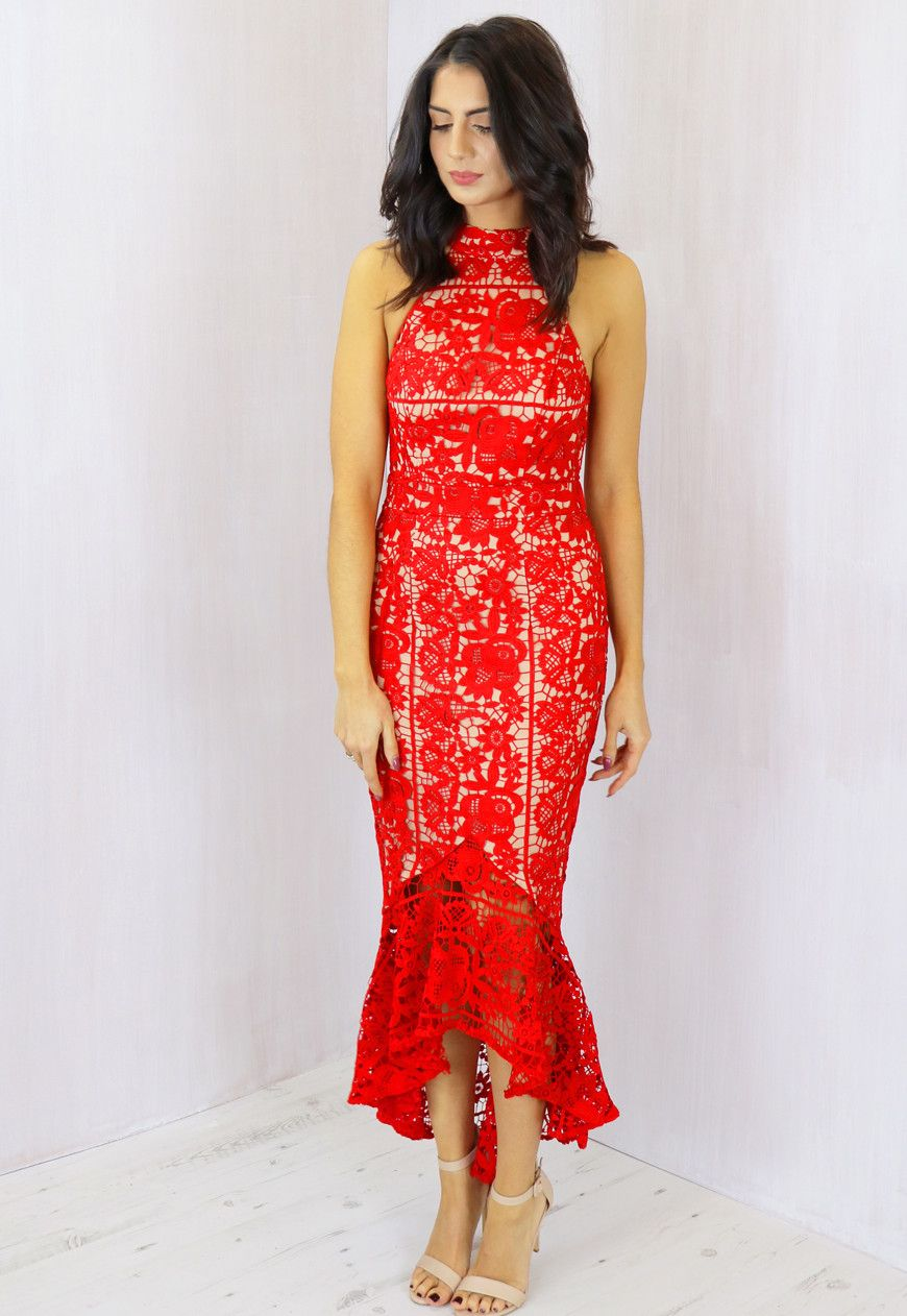 aa9733eb7a8ad ... One Nation Clothing. Jarlo Jaq High Neck Cutaway Shoulder Lace Midi  Dress with Frill Hem in Red & Nude